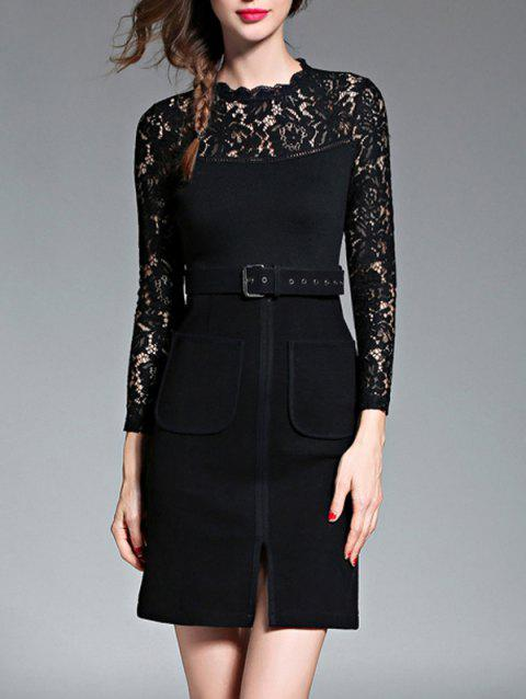 Empire Waist Lace Spliced Slit Pencil Dress with Long Sleeves - BLACK M