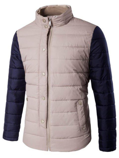 Stand Collar Snap Button Zip Up Two Tone Quilted Jacket - KHAKI 5XL