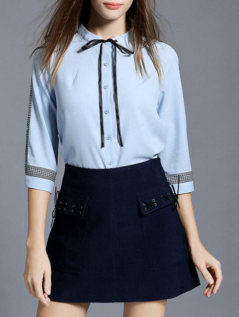 String Chiffon Blouse and Lace-Up A-Line Skirt - BLACK L