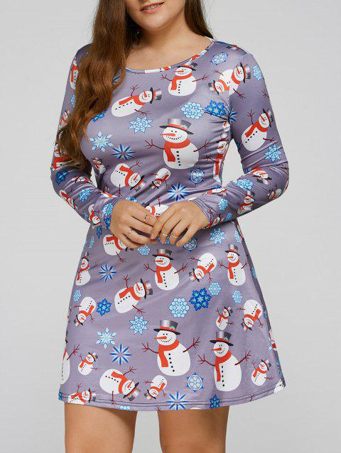 Long Sleeve Snowman Print Plus Size Christmas Skater Dress - BLUE GRAY 2XL