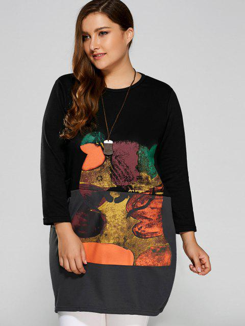 Cartoon Animal Print Plus Size Long Sleeve Dress - BLACK L