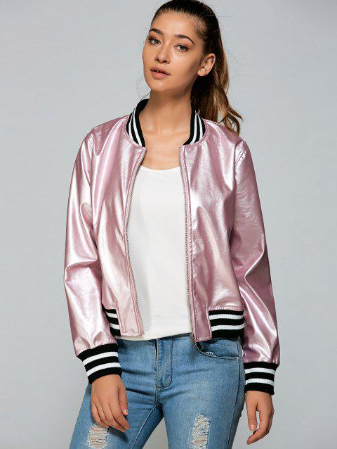 Zippered Striped Bomber Jacket - PINK XL
