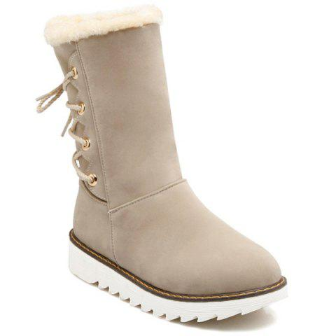Flat Heel Flock Tie Up Snow Boots - OFF WHITE 37