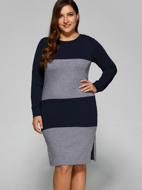 Color Block Furcal Dress - GRAY 4XL
