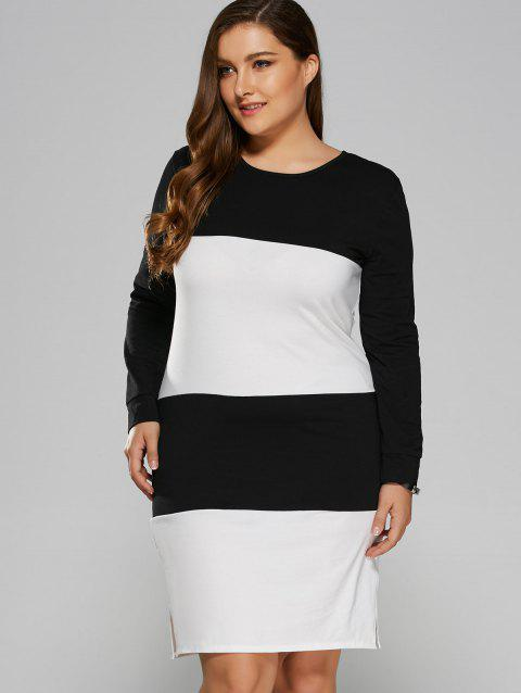 Color Block Furcal Dress - WHITE XL