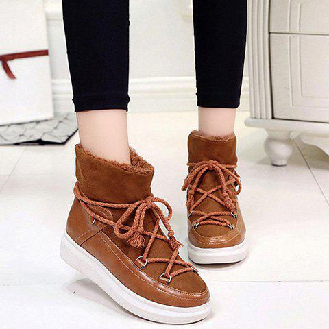Platform Splicing Lace-Up Ankle Boots - BROWN 38
