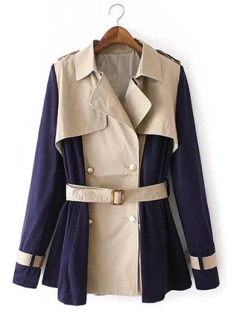 Two Tone Belted Trench Coat - KHAKI L