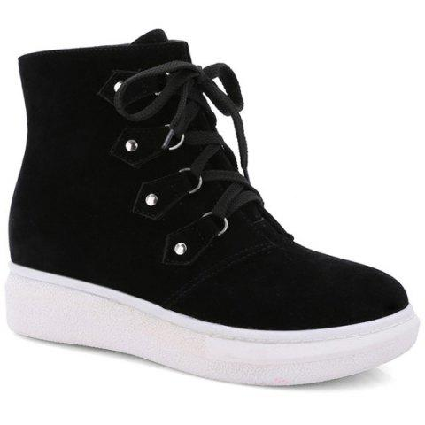 Suede Metal Lace-Up Ankle Boots - BLACK 39