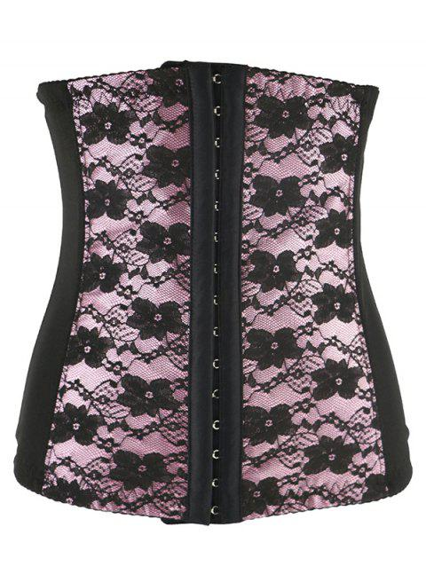 Lace Spliced  Steel Boned Underbust  Corset - SHALLOW PINK 4XL
