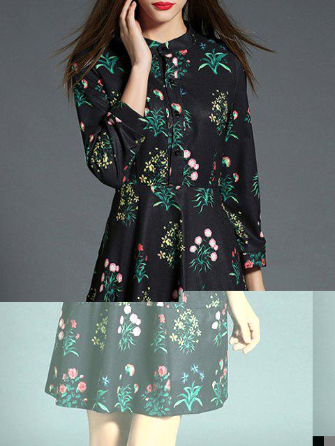 Vintage Floral Long Sleeve Dress - BLACK M