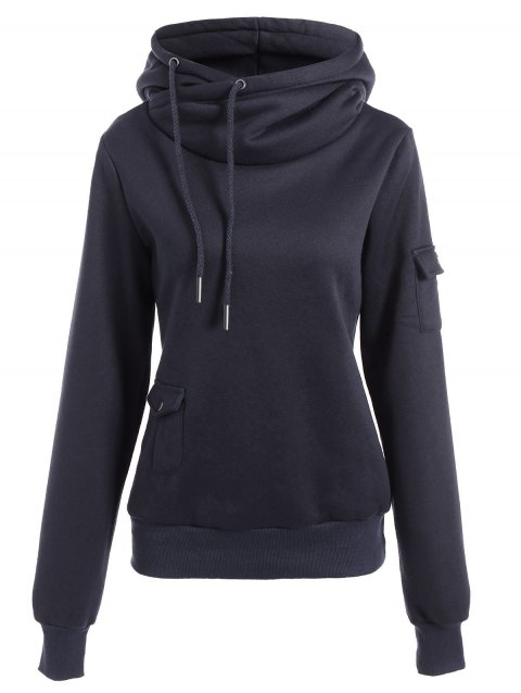 Trendy Irregular Hooded Solid Color Buttoned Hoodie For Women - DEEP BLUE L