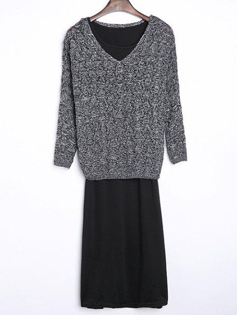 Rhombus Pattern Textured Knitwear and Tank Dress Twinset - DEEP GRAY ONE SIZE