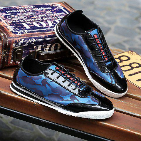 Splicing Lace-Up Camouflage Pattern Casual Shoes - BLUE 40