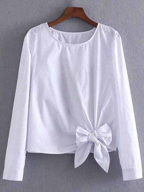 Bowknot Embellished Embroidery Blouse - Blanc S