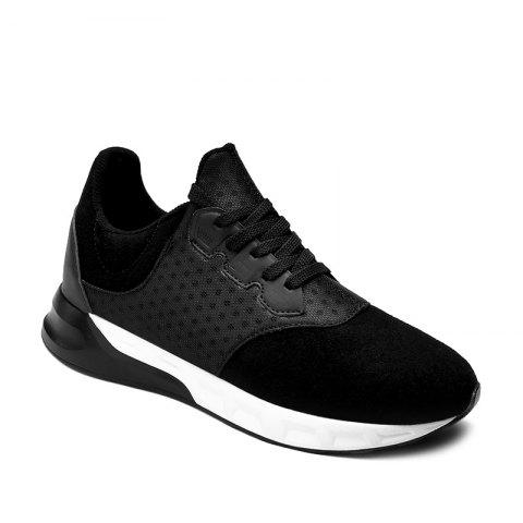 Lace-Up Suede Splicing Athletic Shoes - BLACK 43