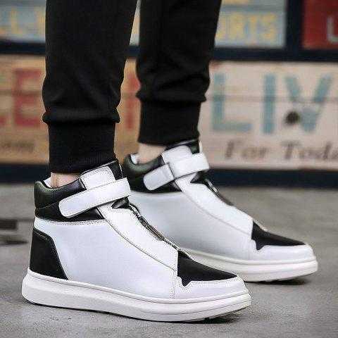 Stitching PU Leather Zipper Boots - WHITE/BLACK 44
