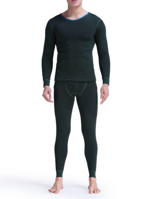 Round Neck Buttons Embellished Warmth Thermal Underwear Suit - BLACKISH GREEN L