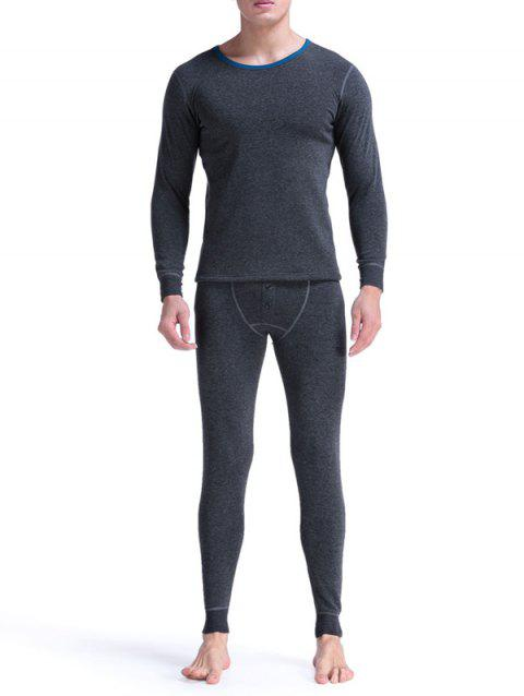 Round Neck Buttons Embellished Warmth Thermal Underwear Suit - DEEP GRAY L