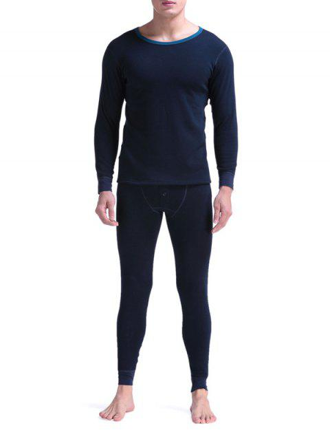 Round Neck Buttons Embellished Warmth Thermal Underwear Suit - SAPPHIRE BLUE L