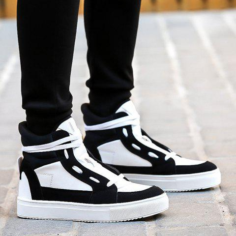 Lace-Up Suede Splicing Boots - WHITE/BLACK 42