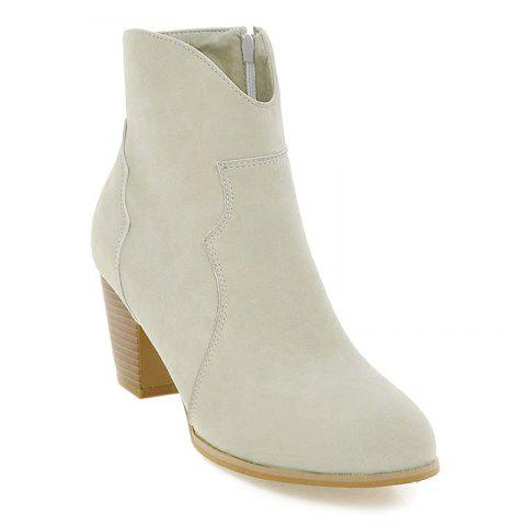 Chunky Heel Suede Zip Ankle Boots - OFF WHITE 40