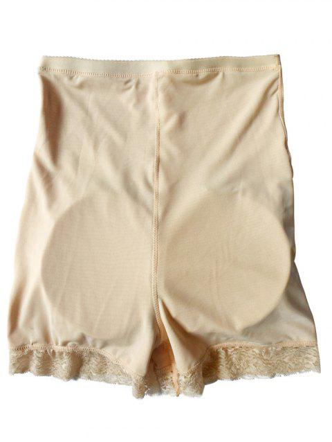 High Waist Boyshort Panties with Lace Trim - APRICOT 2XL