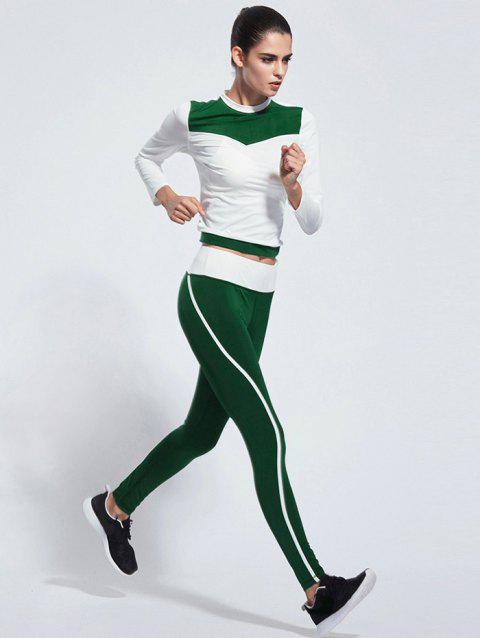 Skinny Color Block T-Shirt With Pants - GREEN S