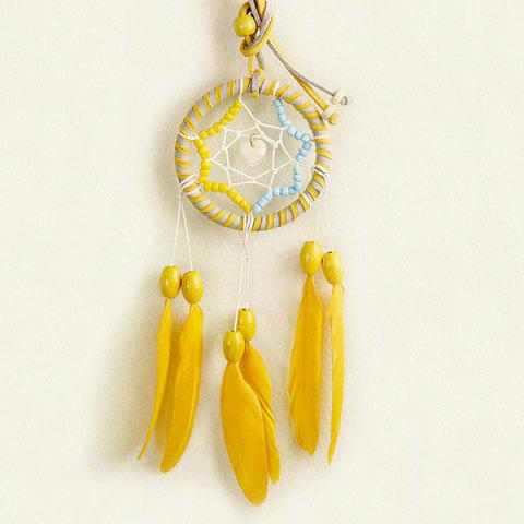 Chic Circular Net With Feathers Loving Heart Dreamcatcher Wall Hanging Decor - BLUE/YELLOW