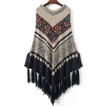 Floral Knitted Fringed Cape