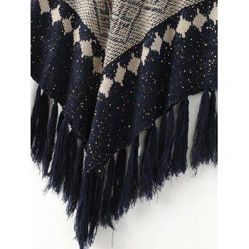 Floral Knitted Fringed Cape - BLACK ONE SIZE