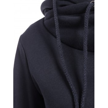 Trendy Irregular Hooded Solid Color Buttoned Hoodie For Women - DEEP BLUE S