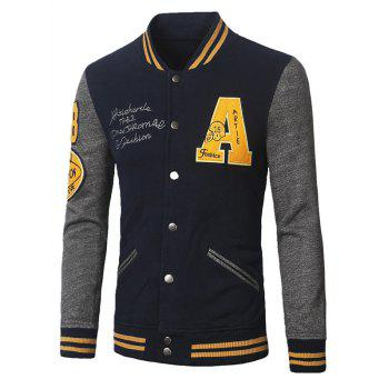 Varsity Striped Patch Design Insert Baseball Jacket