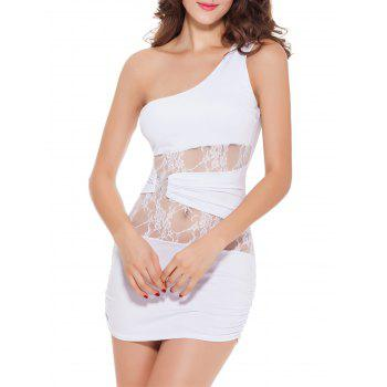 Laciness One Shoulder See Through Mini Dress