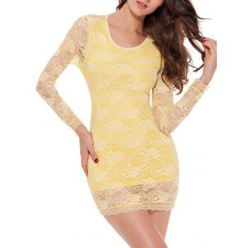 Long Sleeve  Big Bow Lace Openwork Mini Dress