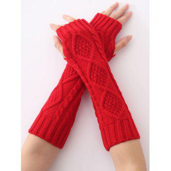 Christmas Winter Warm Diamond Hollow Out Crochet Knit Arm Warmers - RED RED