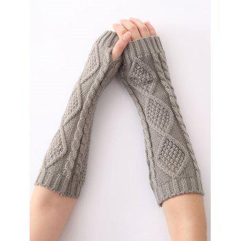 Christmas Winter Warm Diamond Hollow Out Crochet Knit Arm Warmers - LIGHT GRAY LIGHT GRAY