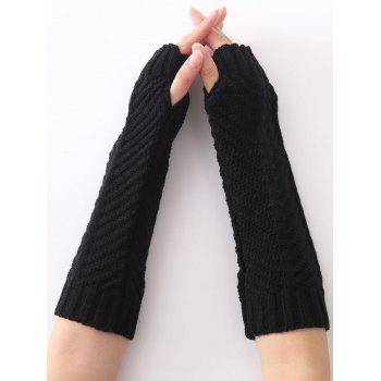 Christmas Winter Warm Fishbone Crochet Knit Arm Warmers - BLACK BLACK