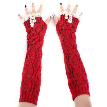 Christmas Winter Warm Lace Buttons Hollow Out Crochet Knit Arm Warmers - RED RED
