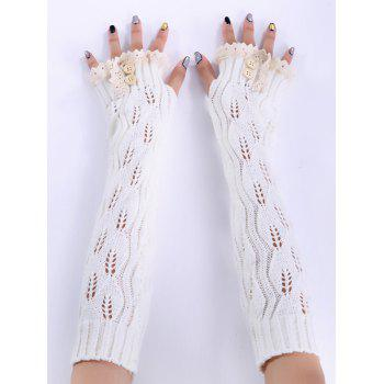 Christmas Winter Warm Lace Buttons Hollow Out Crochet Knit Arm Warmers - WHITE WHITE