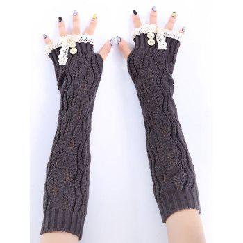 Christmas Winter Warm Lace Buttons Hollow Out Crochet Knit Arm Warmers - DEEP GRAY DEEP GRAY