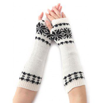 Christmas Winter Warm Snow Floral Crochet Knit Arm Warmers - WHITE WHITE