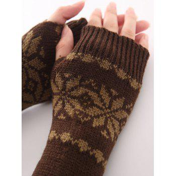 Christmas Winter Warm Snow Floral Crochet Knit Arm Warmers - COFFEE