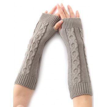 Christmas Winter Warm Hemp Decorative Pattern Crochet Knit Arm Warmers - LIGHT GRAY LIGHT GRAY