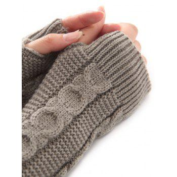 Christmas Winter Warm Hemp Decorative Pattern Crochet Knit Arm Warmers -  LIGHT GRAY