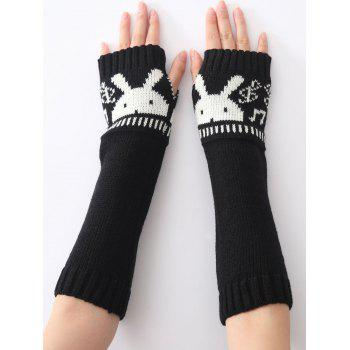 Buy Christmas Winter Warm Rabbit Head Hollow Crochet Knit Arm Warmers BLACK
