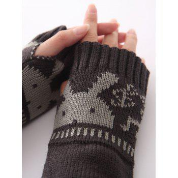Christmas Winter Warm Rabbit Head Hollow Out Crochet Knit Arm Warmers - DEEP GRAY