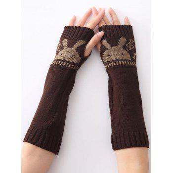 Christmas Winter Warm Rabbit Head Hollow Out Crochet Knit Arm Warmers - COFFEE COFFEE