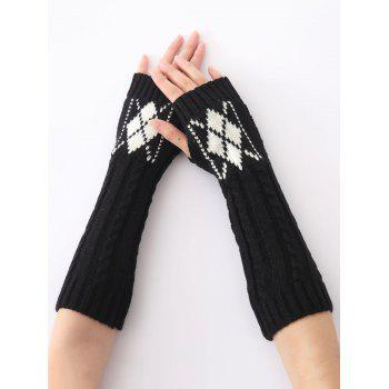 Christmas Winter Warm Hemp Decorative Pattern Diamond Crochet Knit Arm Warmers