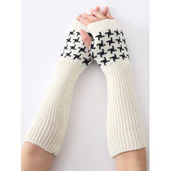 Christmas Winter Warm Vertical Stripe Plover Case Crochet Knit Arm Warmers