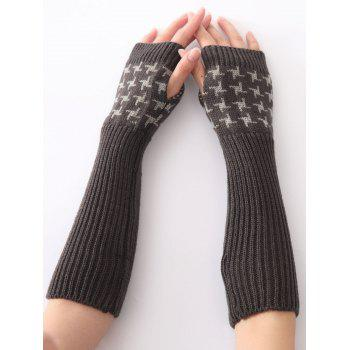 Christmas Winter Warm Vertical Stripe Plover Case Crochet Knit Arm Warmers - DEEP GRAY DEEP GRAY